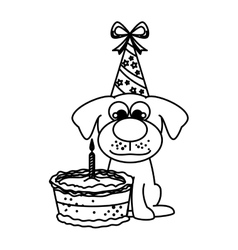 Cute dog with cake vector