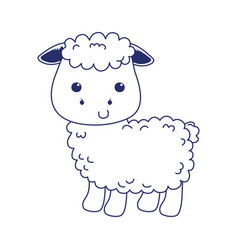 Cute little sheep animal cartoon isolated icon vector