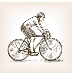 Cycle racer on bicycle sketch vector