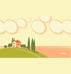 decorative seascape with a village house on a hill vector image
