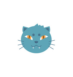 domestic cat head with gray fur and toothy smile vector image