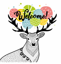 Doodle deer with message on the horns vector