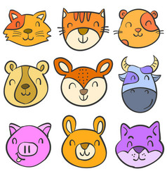 Doodle of animal colorful funny cute vector