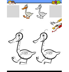 Drawing and coloring worksheet with goose vector