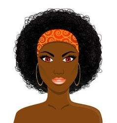 Face of beautiful African black woman vector image