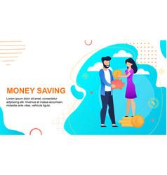 Family money savings cartoon text flat banner vector