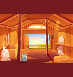 Farm barn house inside view empty ranch interior vector
