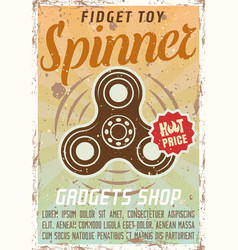 fidget spinner advertising vintage colored poster vector image