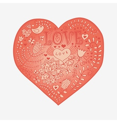floral heart heart made flowersdoodle heart vector image