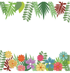 Flowers foliate border with leaves blossom garden vector