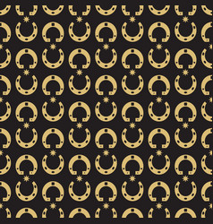 gold horseshoe and stars seamless pattern vector image