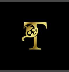 Gold luxury letter t ornament logo alphabet vector