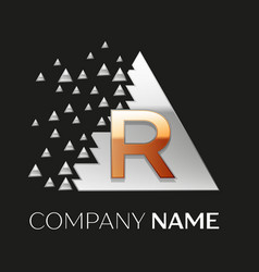 Golden letter r logo in silver pixel triangle vector