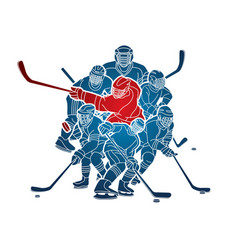 group ice hockey players action cartoon sport vector image