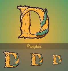 Halloween decorative alphabet - D letter vector