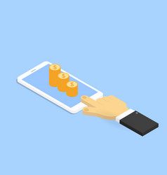 hand with mobile phone and money vector image