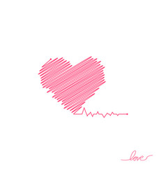 heart pulse red and white colors heartbeat lone vector image