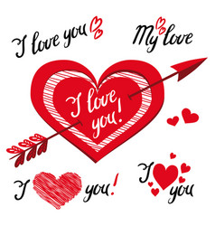 i love you - romantic elements for design with vector image