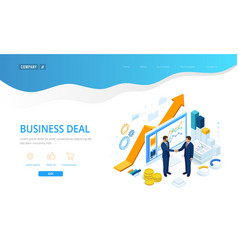 Isometric b2b sales method partners shaking hands vector