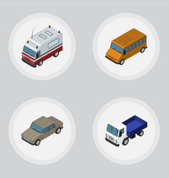 isometric car set of autobus lorry first-aid and vector image