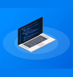 isometric laptop coding concept web developer vector image