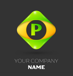 Letter p logo symbol in colorful rhombus vector
