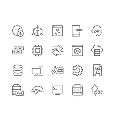 Line Hosting Icons vector