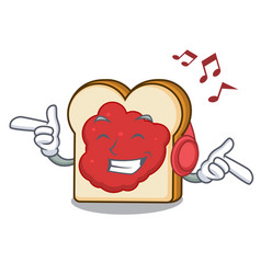 listening music bread with jam mascot cartoon vector image