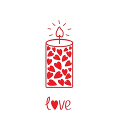 Love candle with hearts Card vector