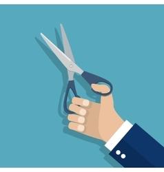 Man holding Scissors in hand vector image