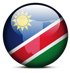 Map on flag button of Republic Namibia vector image