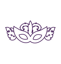 Mardi gras celebration mask with leafs plant vector