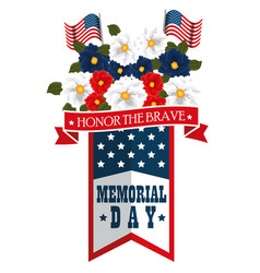 memorial day with beautiful flowers vector image
