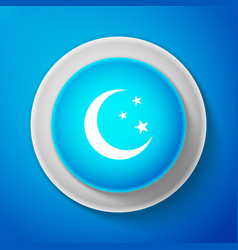 Moon and stars icon isolated on blue background vector