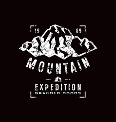 Mountain expedition label with texture vector