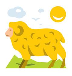 Mountain sheep flat style colorful cartoon vector