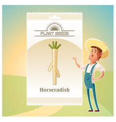 Pack horseradish seeds icon vector