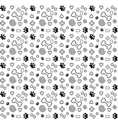 pattern dog black and white lover vector image