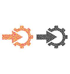 Pixel cog integration mosaic icons vector