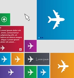 Plane icon sign buttons Modern interface website vector