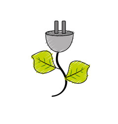power cable with leaves to environment care vector image vector image