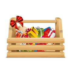 presents in wooden basket vector image