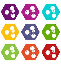 pyramide molecule icons set 9 vector image