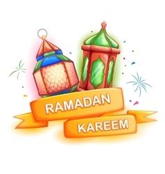 Ramadan Kareem greeting with illuminated lamp vector image