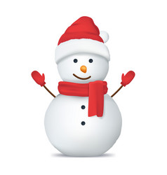 realistic detailed 3d happy snowman in hat vector image