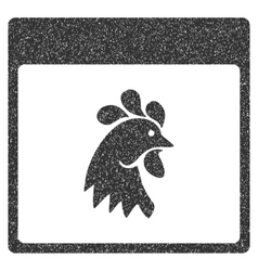 Rooster Head Calendar Page Grainy Texture Icon vector
