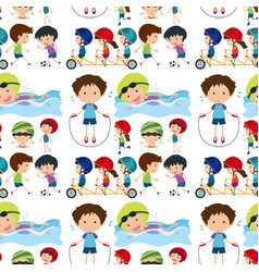 Seamless background with kids playing sports vector