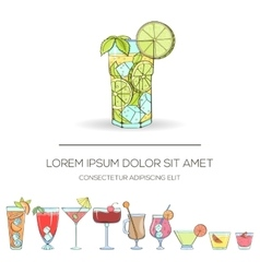 set colorful hand drawn cocktails vector image