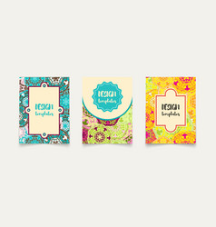 set ethnic cards invitations flyers banners a4 vector image