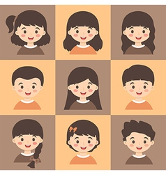 Set of Kids Face Avatar Brown Orange vector image